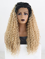 cheap -Synthetic Lace Front Wig Curly Middle Part Lace Front Wig Long Ombre Blonde Synthetic Hair 18-26 inch Women's Cosplay Soft Adjustable Blonde