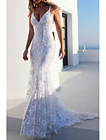 cheap -Mermaid / Trumpet Spaghetti Strap Sweep / Brush Train Polyester Beautiful Back Engagement / Formal Evening Dress 2020 with Embroidery