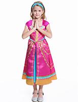 abordables -Princesse Jasmine Robe Fille Cosplay de Film Cosplay Halloween Fushia Robe Halloween Carnaval Mascarade Polyester