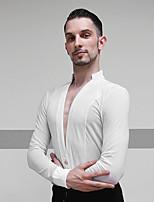 cheap -Latin Dance Tops Men's Performance Mesh / Velvet Ruching Long Sleeve Top