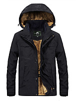 cheap -Men's Hiking Windbreaker Winter Outdoor Windproof Warm Comfortable Winter Jacket Top Cotton Single Slider Camping / Hiking / Caving Traveling Winter Sports Black / Army Green / Blue / Khaki