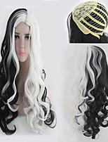 cheap -Synthetic Wig Curly kinky Straight Asymmetrical Wig Long Black / White Synthetic Hair 27 inch Women's Best Quality Black White