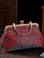 cheap -Women's Pattern / Print Silk / Satin Evening Bag Solid Color Red Brown / Blushing Pink / Light-gold