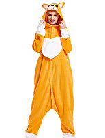 cheap -Adults' Kigurumi Pajamas Dog Onesie Pajamas Flannelette Orange Cosplay For Men and Women Animal Sleepwear Cartoon Festival / Holiday Costumes