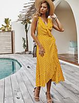 cheap -Women's Elegant Sheath Dress - Polka Dot Black Wine Yellow S M L XL