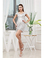 cheap -Sheath / Column V Neck Short / Mini Sequined Elegant Cocktail Party / Party Wear / Wedding Guest Dress with Sequin 2020