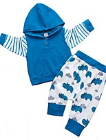 cheap -Baby Boys' Basic Print Long Sleeve Regular Cotton Clothing Set Blue / Toddler