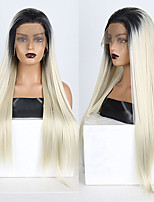cheap -Synthetic Lace Front Wig Straight Free Part Lace Front Wig Long Ombre Blonde Synthetic Hair 18-26 inch Women's Soft Adjustable Party Blonde Ombre