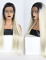 abordables -Perruque Lace Front Synthétique Droit Partie libre Lace Frontale Perruque Long Ombre Blonde Cheveux Synthétiques 18-26 pouce Femme Doux Ajustable Soirée Blond A Ombre