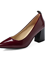 cheap -Women's Heels Chunky Heel Pointed Toe Patent Leather Business Spring &  Fall Black / Burgundy / Beige / Party & Evening
