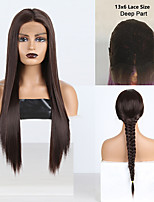 cheap -Synthetic Lace Front Wig Silky Straight Middle Part Lace Front Wig Long Chestnut Brown Synthetic Hair 18-26 inch Women's Cosplay Silky Heat Resistant Brown