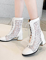 cheap -Women's Boots Chunky Heel Round Toe Mesh / PU Mid-Calf Boots Classic / Vintage Spring & Summer Black / Almond / White / Party & Evening