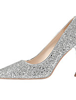 cheap -Women's Wedding Shoes Spool Heel Pointed Toe Sequin Synthetics Sweet / British Fall / Spring & Summer Black / Gold / Silver / Party & Evening