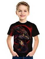 abordables -Enfants Garçon Actif Chic de Rue 3D Imprimé Manches Courtes Tee-shirts Noir