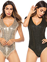 cheap -Diva Retro Vintage Disco 1980s Summer Masquerade Women's Sequins Sequin Costume Black / Champagne Vintage Cosplay Party / Leotard / Onesie