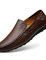 cheap -Men's Moccasin Nappa Leather Spring & Summer / Fall & Winter Casual / British Loafers & Slip-Ons Non-slipping Black / Brown / Coffee