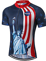 cheap -21Grams Men's Short Sleeve Cycling Jersey 100% Polyester Red+Blue American / USA Astronaut Statue Of Liberty Bike Jersey Top Mountain Bike MTB Road Bike Cycling UV Resistant Breathable Quick Dry