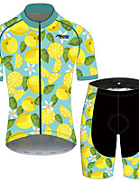 cheap -21Grams Men's Short Sleeve Cycling Jersey with Shorts Black / Yellow Fruit Lemon Bike Clothing Suit UV Resistant Breathable 3D Pad Quick Dry Reflective Strips Sports Fruit Mountain Bike MTB Road Bike
