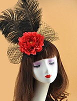 cheap -Net Fascinators with Feather 1 Piece Special Occasion Headpiece