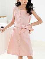 cheap -Kids Girls' Cute Street chic Solid Colored Drawstring Sleeveless Knee-length Dress Blushing Pink