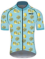 cheap -21Grams Women's Short Sleeve Cycling Jersey 100% Polyester Blue+Yellow Fruit Lemon Bike Jersey Top Mountain Bike MTB Road Bike Cycling UV Resistant Breathable Quick Dry Sports Clothing Apparel