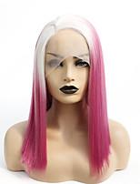 abordables -Perruque Lace Front Synthétique Droit Gaga Partie médiane Lace Frontale Perruque Longueur moyenne Ombre Red Cheveux Synthétiques 14-16 pouce Femme Résistant à la chaleur Homme Grosses soldes Rouge A