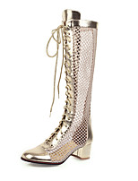 cheap -Women's Boots Mesh Chunky Heel Round Toe Microfiber Mid-Calf Boots Classic / Vintage Spring & Summer Gold / Silver / Party & Evening