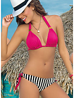 cheap -Women's Basic Fuchsia Halter Cheeky Bikini Tankini Swimwear Swimsuit - Striped Solid Colored Print S M L Fuchsia