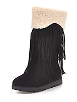 cheap -Women's Boots Flat Heel Round Toe Suede Mid-Calf Boots Winter Black / Brown / Beige