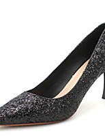 cheap -Women's Heels Stiletto Heel Pointed Toe Sequin Synthetics Sweet / British Fall / Spring & Summer Black / Gold / Silver / Party & Evening