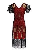 cheap -Dance Costumes Dresses Women's Performance Terylene Tassel / Paillette Short Sleeve Dress