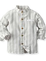 cheap -Kids Toddler Boys' Basic Street chic Striped Long Sleeve Shirt Light gray