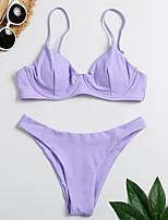 cheap -Women's Basic Purple Bandeau Cheeky High Waist Bikini Swimwear - Floral Geometric Lace up Print S M L Purple