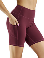 cheap -Women's Yoga Shorts Pocket Solid Color Black Dark Grey Purple Burgundy Blue Running Fitness Gym Workout Shorts Sport Activewear Breathable Quick Dry Soft High Elasticity