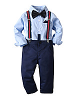 cheap -Kids Toddler Boys' Basic Birthday Party Party & Evening Color Block Long Sleeve Regular Regular Clothing Set Light Blue
