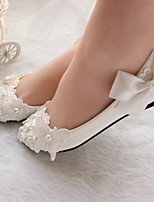cheap -Women's Wedding Shoes Flat Heel Round Toe PU Winter White