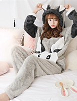 cheap -Adults' Kigurumi Pajamas Rabbit Bunny Onesie Pajamas Flannelette Gray Cosplay For Animal Sleepwear Cartoon Festival / Holiday Costumes / Top / Pants