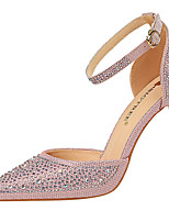 cheap -Women's Wedding Shoes Crystal Sandals Stiletto Heel Pointed Toe Sequin Synthetics Sweet / Minimalism Spring &  Fall / Spring & Summer Pink / Gold / Silver / Party & Evening