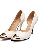 cheap -Women's Wedding Shoes Stiletto Heel Pointed Toe Cowhide Spring & Summer Black / White / Peach