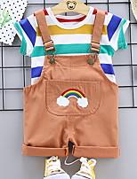 cheap -Baby Girls' Basic Striped Short Sleeve Regular Clothing Set Orange