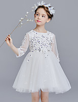 cheap -Princess Dress Girls' Movie Cosplay Cosplay Halloween White / Red / Blue Dress Halloween Carnival Masquerade Tulle Polyester Sequin