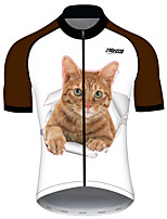 cheap -21Grams Women's Short Sleeve Cycling Jersey 100% Polyester Orange+White Cat Animal Bike Jersey Top Mountain Bike MTB Road Bike Cycling UV Resistant Breathable Quick Dry Sports Clothing Apparel