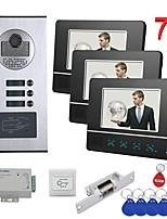cheap -7 inch Touch Button 2 Apartment/Family Video Door Phone Intercom System RFID 1000TVL  Doorbell Camera NO Electric Strike Door Lock