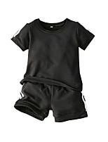 cheap -Kids Boys' Basic Christmas Home Solid Colored Print Short Sleeve Regular Regular Clothing Set Black