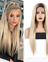 cheap -Synthetic Lace Front Wig Straight Middle Part Lace Front Wig Long Ombre Blonde Synthetic Hair 18-26 inch Women's Cosplay Soft Party Blonde Ombre