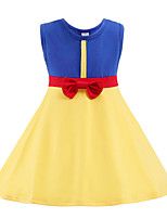 cheap -Kids Toddler Girls' Sweet Cute Color Block Cartoon Bow Sleeveless Above Knee Dress Yellow