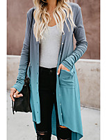 cheap -Women's Daily Basic Fall / Winter Long Trench Coat, Color Block Collarless Long Sleeve Polyester Patchwork Purple / Blue / Gray