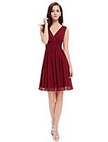 cheap -A-Line V Neck Knee Length Chiffon Minimalist / Flirty Cocktail Party / Nightclub Dress 2020 with
