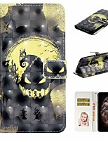 cheap -Case For Apple iPhone 11 / iPhone 11 Pro / iPhone 11 Pro Max Wallet / Card Holder / with Stand Full Body Cases Skull PU Leather For iPhone XS Max/XS/XR/X/8 Plus/7/6/6s Plus/5/5S/SE