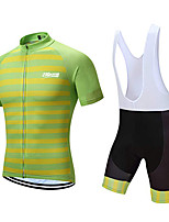 cheap -21Grams Men's Short Sleeve Cycling Jersey with Bib Shorts Polyester Green / Black Geometic Bike Clothing Suit UV Resistant 3D Pad Quick Dry Sports Solid Color Mountain Bike MTB Road Bike Cycling